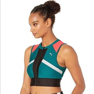 PUMA Chase Full Zip Crop Top Teal Green Small